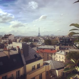 view of eiffel tower from hotel le littre