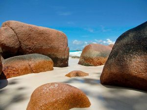 seychelles rocks are a romantic view for honeymooners