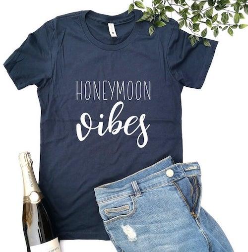 honeymoon vibes blue shirt