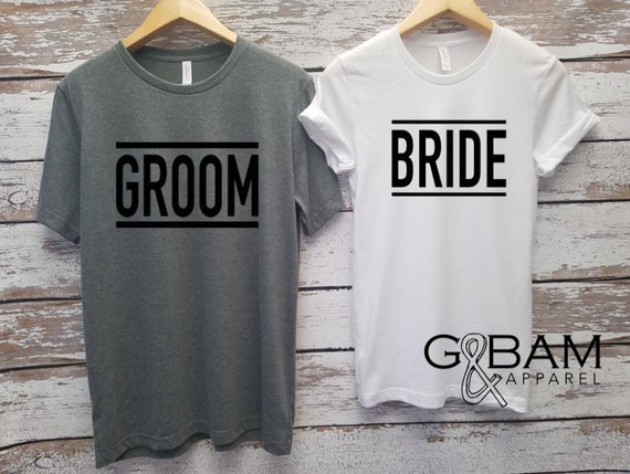 bride and groom matching tshirts