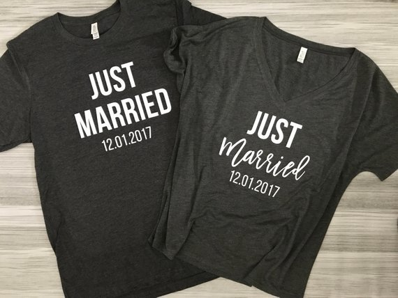 matching just married shirts with date