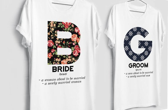 cute bride and groom matching t shirts for honeymoon