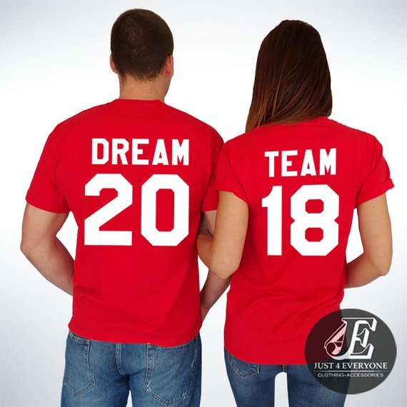 dream team football themed matching shirts for couples