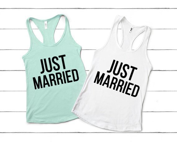 matching just married tank tops