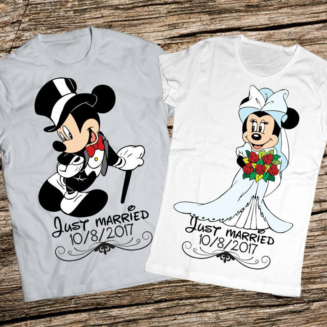 Just Married Mickey & Minnie Tees