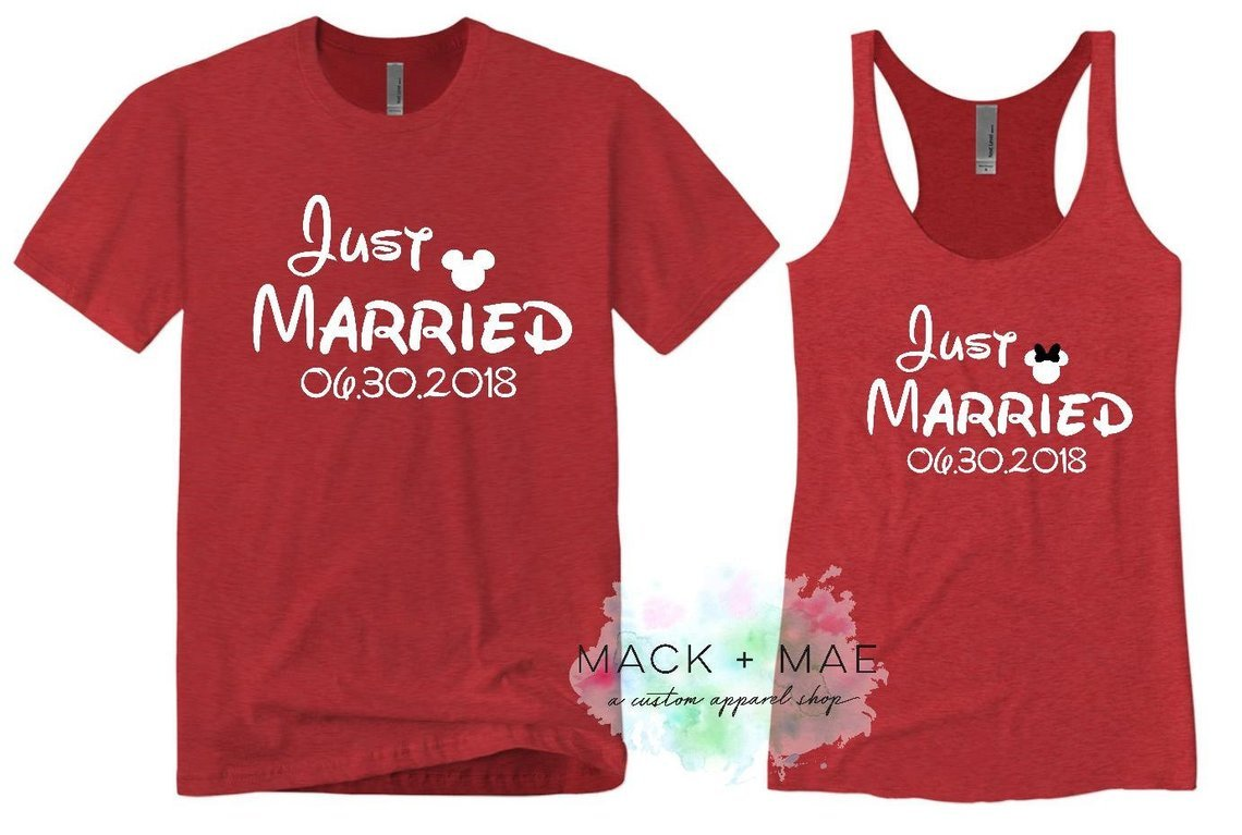 disney just married t shirts for matching couples