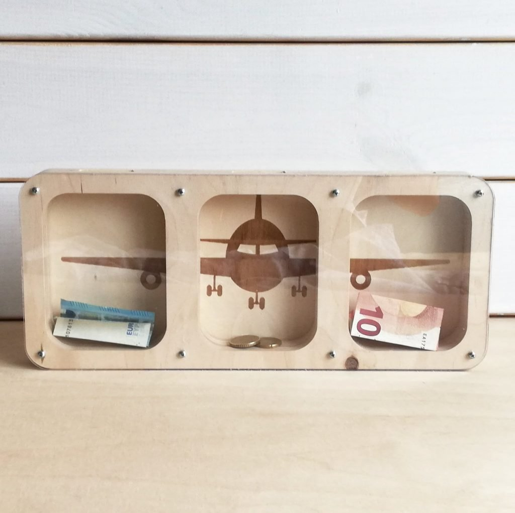Classic wooden airplane piggy bank