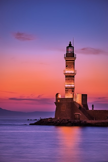 Greece lighthouse at sunset