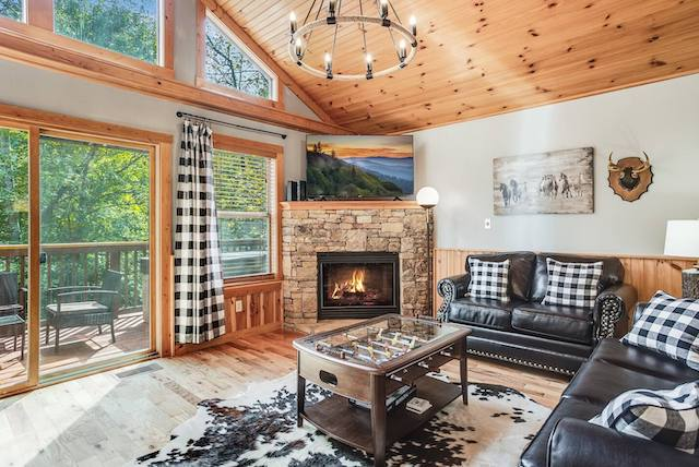Buck Wild cabin living room with fireplace