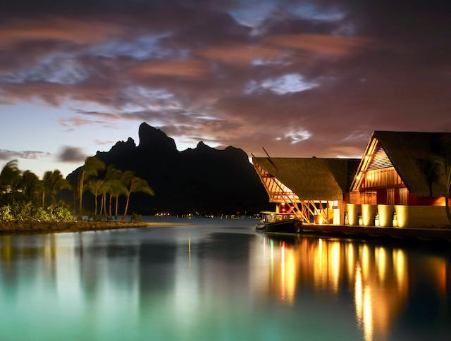 Bora Bora Four Seasons at night